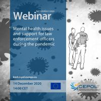 COVID-19 Webinar (No21): Mental health issues and support for law enforcement officers during the pandemic